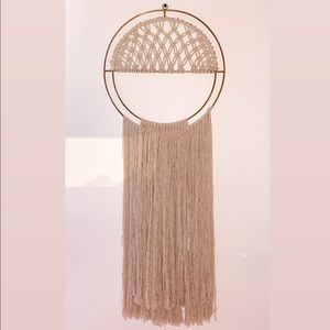 Urban Outfitters Wall Art - Gold + Natural Macramé Hanging Wall Art Decoration